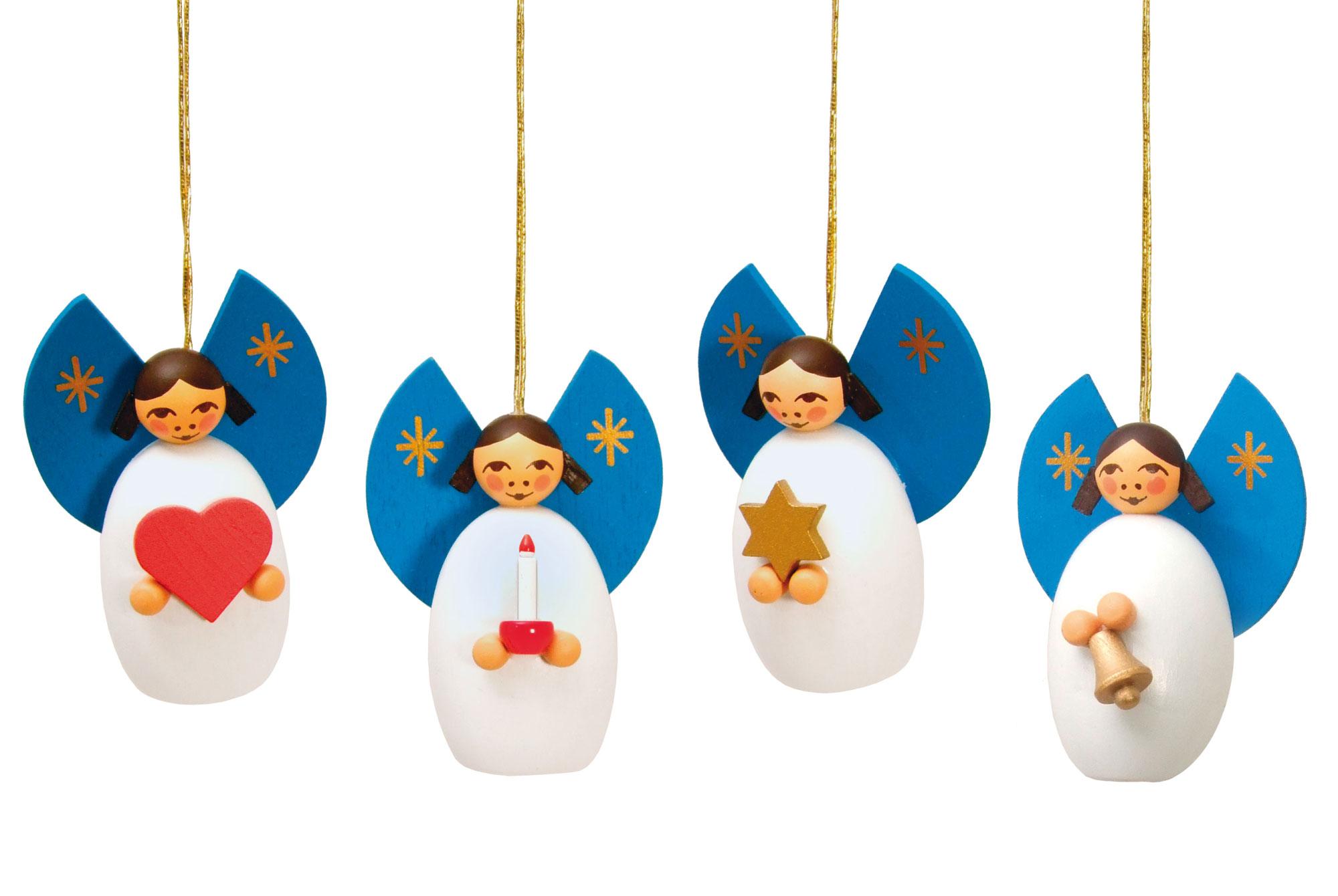 Baumbehang-Set:  4 Engel mit Stern, Kerze, Glocke, Herz