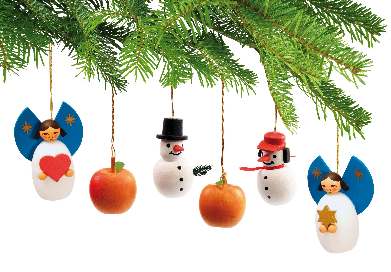 Baumbehang-Set: Engel, Äpfel, Schneemann