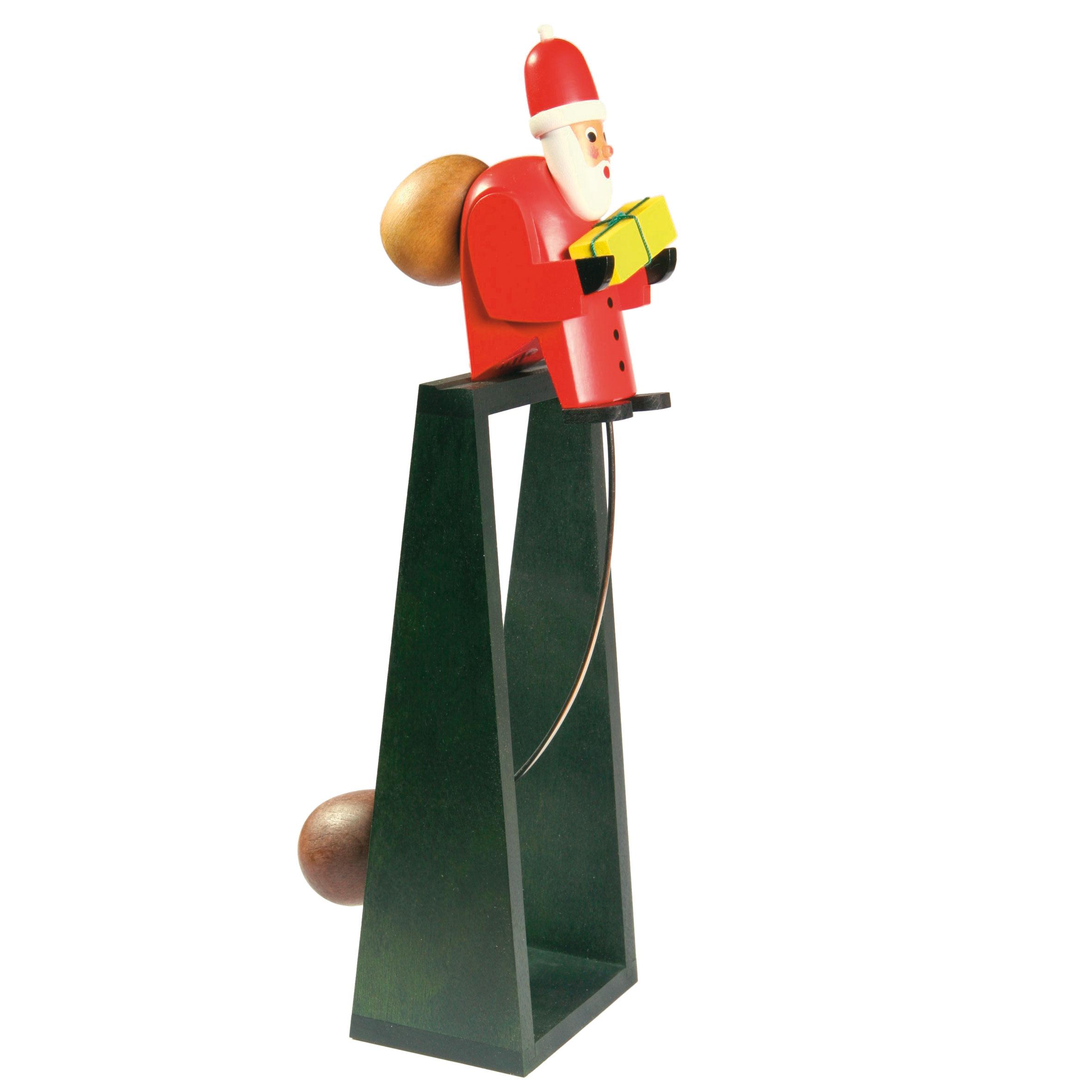 Schaukel-Weihnachtsmann mit grünem Ständer